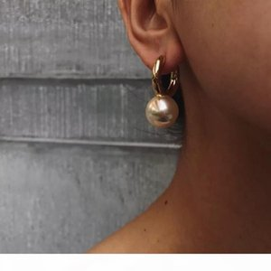 Designer Jewelry Fashion Big Round Pearl Drop Earrings High Quality Gold Dangle Earrings For Women Luxury Elegant Brand Bijoux SH190930