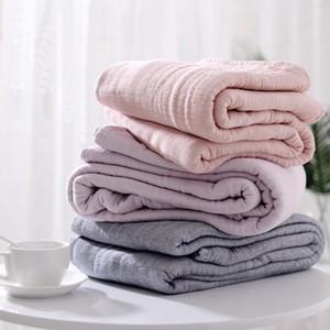 LYNGY Coton Muslin Blanket Canapé-lit Voyage Respirant Japonais Coréen Solide Style Grand doux Throw Housse de couette Para Couverture