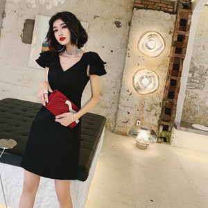 Evening Party Ball Gown Qipao Temperament Waist Slimming V Neck Sexy Little Black Dress Vestidos De Festa1