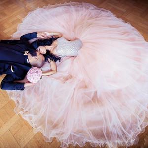 Blush Pink Wedding Dresses Graceful 2021 Arabic Dubai Tulle A Line Bridal Gowns Rhinestones Sweetheart Plus Size Vestidos De Novia AL8266