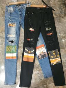Nouveau design d'hiver pour hommes Jeans de haute qualité Designer Trou échant épissé Ripped High Street Denim Jeans Détruit Taille US W28-W40