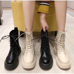 Combate mulheres bootsMCCKLE Exército Mulheres Botas Mulher Lace up Shoes Gothic Sock Plataforma de couro Chunky Heels Botas Moda Botas Mujer Nova