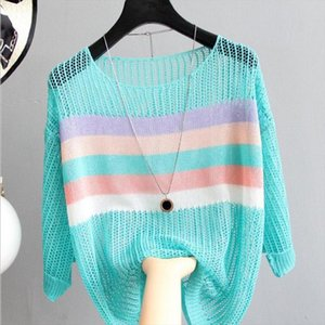 Knitting Hollow Out Pullovers Women Color Striped Thin Sweater Jumper Loose Korean Tops 2020 Spring Summer