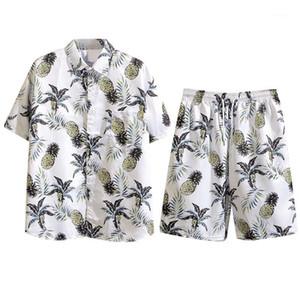 Trajes de los hombres 2021 Suelo de verano Conjunto casual de algodón ropa para hombre Camisa floral camisa Pantalones cortos de playa Imprimir camisas pantalones traje de dos piezas 041