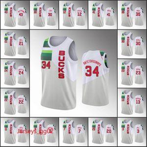 2020 MilwaukeeBucksMen Giannis Antetokounmpo Khris Middleton Eric Bledsoe EarnedNBA White Custom Basketball Jersey
