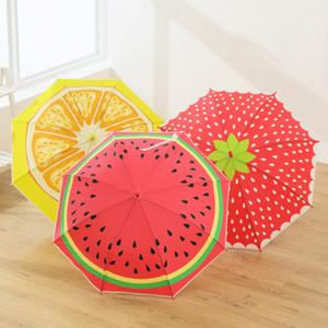 Ensoleillé Rainy Umbrella coupe-vent fort long manche parapluie Nouveauté Fruit Fraise Pastèque Parapluies Impression pour les filles enfants