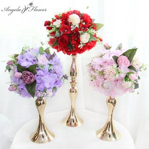 25cm Wedding Table Centerpieces Artificial Flower Ball Rose Pompom Hydrangea Green Plants Party Event Display Bouquet Home Decor