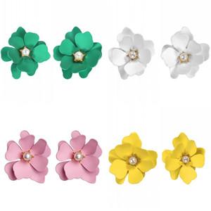 Çok yönlü çiçek küpe rüya düz renk yeni petal kristal kakma kulak çiviler yaz moda aksesuarları 1 8sfd k2