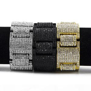 Mens Hip Hop Exaggerated Gold Bracelets Jewelry New Fashion Rhinestone Diamond Iced Out Bracelet For Men