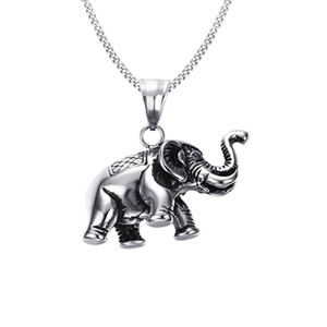 Hip Hop Style Stainless Steel Elephant Casting Pendant Necklace BXG024 Personality Charm Dangle Chain Jewelry Fashion Punk Rock Accessories