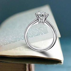 Hohe Qualität Mädchen Damen Hand Schmuck Sechs Prong Diamant Ring Simulation Diamant Ring Geschenk Party Verlobungsring