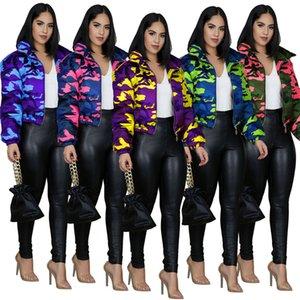 Frauen geerntete Baumwolle Puffer Padded Jacke gesteppte Wintermäntel Camouflage Design Hoher Kragen Wabbed Jacken Art und Weise Outwear Kleidung F110404