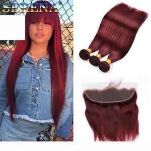 Couleur 99J Vin rouge Brésilien Droite Head Hair Teins 4pcs Lot 10-30inch Long Long Burgundy Couleur Brésilienne Extension des cheveux Brésilien avec frontal