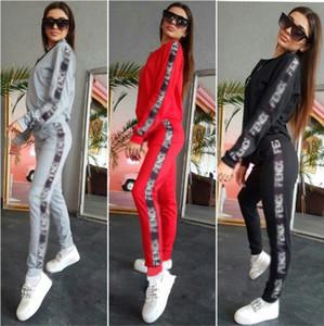Diseñador para mujer 2 de dos piezas chaqueta programada chándales Invierno Mujer Pantalón largo Deportes Chandals Sweatsuit manera de la caída de las señoras ropa deportiva