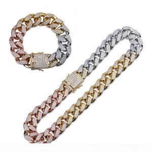 12mm Finish Men's Heavy Iced Zircon Tricolor Cuban Link Necklace Set Choker Bling Hip hop Jewelry Gold Silver Rose Gold Chain
