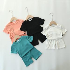 Summer Kids Loungewear Solid Thin Ribbed Cotton Children Pajamas Set Baby Boys Girls Sleepwear Homewear Short Sleeve Suit 201126
