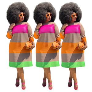 Femmes Designer Plus la taille des robes d'automne à manches longues rayé coloré Imprimer Casual Taille Plus Vêtements pour femmes