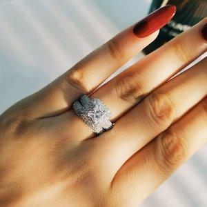 Moonso Luxury Bold 925 Sterling Silver Anillo Juego de anillos de boda Moda para el novio de novia Mujeres Moonso Jewelry R3400S J0112