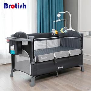 Brotish multifuncional portátil, plegable recién nacido, cuna, mesa de pañales, cama de juego