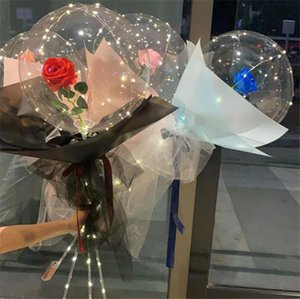 LED Balloon Light LED Luminous Bobo Ball Flashing Light Rose Bouquet Rose Valentines Day Gift Balloon for Birthday Party OOB4209