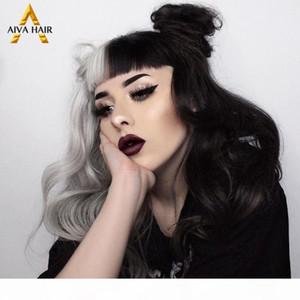 Aiva Half gris demi-dentelle synthétique Synthetic Wig 13x4 résistant à la chaleur dentelle synthétique dentelle avant Perruque Cosplay Perruques sans glualité pour femmes noires