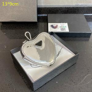 2021 Lüks Mini Kalp Çantalar Tasarımcılar Sikke Çantalar Kadınlar Kalp Anahtar Cüzdan Fermuar Deri Kızlar Mini Değişim Çantası Ile Kutusu PD21020201