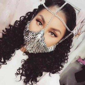Seksi Kadınlar Gümüş Altın Balık Ölçekli Maske Kafa Takı Zincirleri Benzersiz Tasarım Punk Alaşım Kafa Zinciri Giyen Maske Dropship Yeni