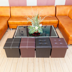 Practical PVC Living Room Furniture black durable safe Square multi purpose storage ottomans and footstool