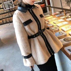 Bella Philosophy Женская зимняя PU Искусственные кожаные куртки из искусственной кожи Урожай женские толстые слои повседневные уличные пояс леди теплые