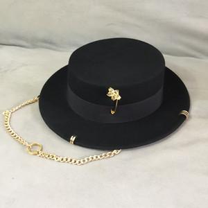 Luxury- Black Cap Female British Wool Hat Fashion Party Flat Hat Sombrero Cadena de la cadena y Pin Fedoras para mujer para un tiro de estilo callejero
