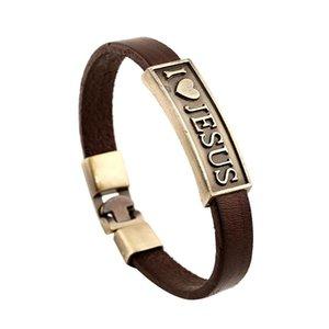 Gioielli di moda in pelle amo Gesù stella del cuore Anchor Lega Bracciale Uomo 'casual di personalità il braccialetto in rilievo punk del braccialetto di B