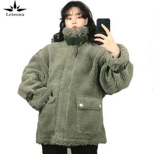 Leiouna Casual Plus Size Long Sleeve Women Winter Thick Lamb Fur Jacket Coats Female Loose Warm Winter Jacket Women Coat Women 201020