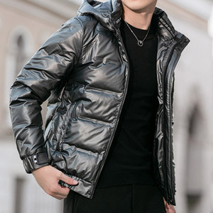 White duck down Short Hooded Down jacket male