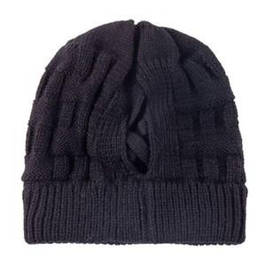 Шапки / черепные колпачки 2021 зимние шляпы для женщин вязаная шапка вскользь вязание крючком кросс осень женская грязная булочка