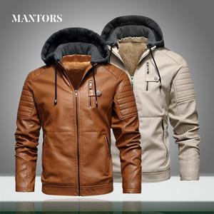 Winter Men PU Leather Jacket Fleece Hooded Motorcycle Coats Warm Thick Velvet Male Casual Windbreaker Bomber Jackets Zipper Slim