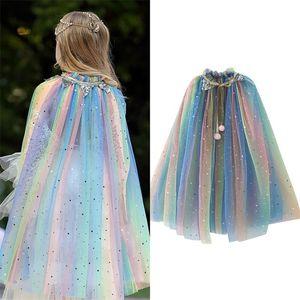 Vuguon Girls Rainbow Sequins Sequins Cape Gook Костюм Tulle Tulle Принцесса София Жасмин Аврора Хэллоуин Необычное одевание мантия Y200623