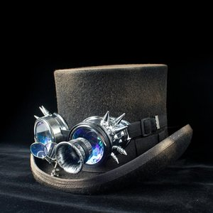 100% Wool Womem Men Steampunk Top Hat Lady Dad Gear Glasses Floral Black Punk Style Fedora Hat Size S M L XL