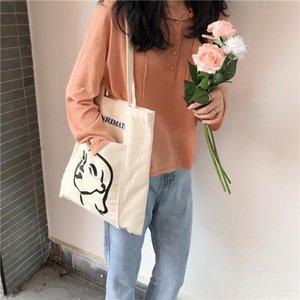 2020 New Canvas Women Shoulder Bag Korean Simple Female Avatar Printing Bag Versatile Outer Pocket Literary Cloth