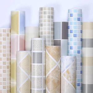 Carta da parete impermeabile Cucina Impianti da parete rimovibile PVC Vinile Adesivo Adesivo Teletry per Bagno Toilet Mosaic Pattern Wall Sticker 201009