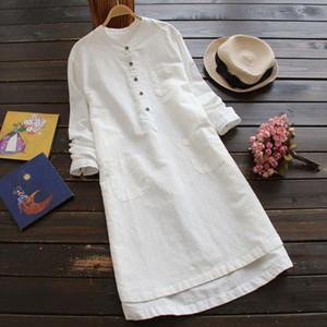 Size Women Plus Shirt Dress Long Sleeve Mandarin Collar Pockets Buttons Mini Vestido 2020 Sautumn Spring Long Tunic Top designer clothes