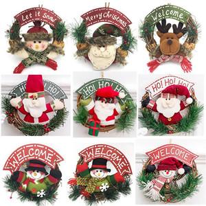 Wooden Christmas Wreath Santa Claus Vine Circle Door Christmas Decorations Snowman Elk Doll Wreath Door Hanger XD24091