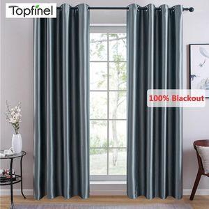 Topfinel Modern Solid Color 100% Blackout Curtains For Bedroom Living Room Window Treatment Silky Damask Blinds Finished Drapes1
