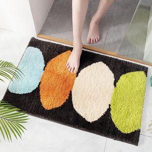 Flocking quarto sala de estar tapete tapetes simples cozinha cozinha porta banheiro absorção de água anti-derrapante