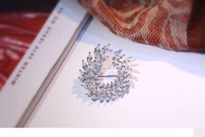 New Bridal Jewelry S925 Sterling Silver Olive Design Leaf Cubic Zircon CZ Brooch For Women High Quality