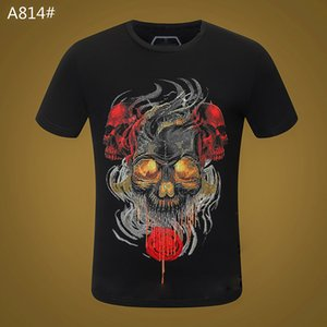 Skull T-shirt Mens Summer Basic Solid black White crystal Casual T Shirts Punk letter tops Tee man fashion clothing short sleeve 100% Cotton