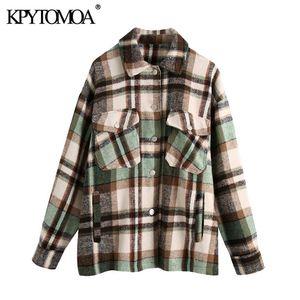 KPYTOMOA 여성 패션 대형 격자 무늬 재킷 코트 빈티지 긴 소매 여성 자켓 세련 된 201,014 탑 포켓