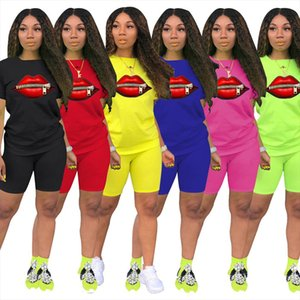 Two piece Red Lips Print Womens Clothing Short sleeved O Neck T shirt and Tight fitting Shorts Simple Style Tracksuit Outfit