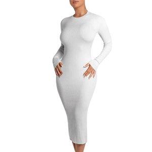 Évider Mode Bandage Robes Casual SOILD couleur Sexy Bydcon Robes Slim ras du cou Vêtements pour femmes