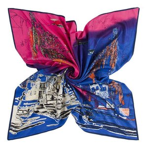 100cm Twill Silk Scarf New Design Abstract Painting Square Scarves Wraps Euro Style Shawl Office Lady Foulard Muslim Neck tie1