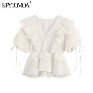 KPYTOMOA Women 2020 Sweet Fashion Ruffled Cropped Blouses Vintage V Neck Tied Short Sleeve Female Shirts Blusas Chic Tops A1105